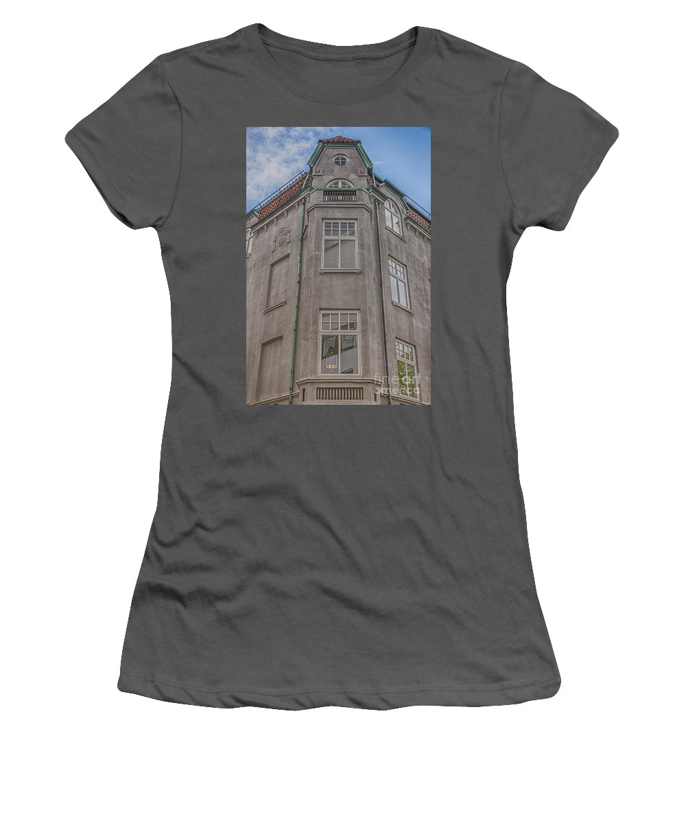 Helsingborg Women's T-Shirt (Athletic Fit) featuring the photograph Corner Building Helsingborg 02 by Antony McAulay