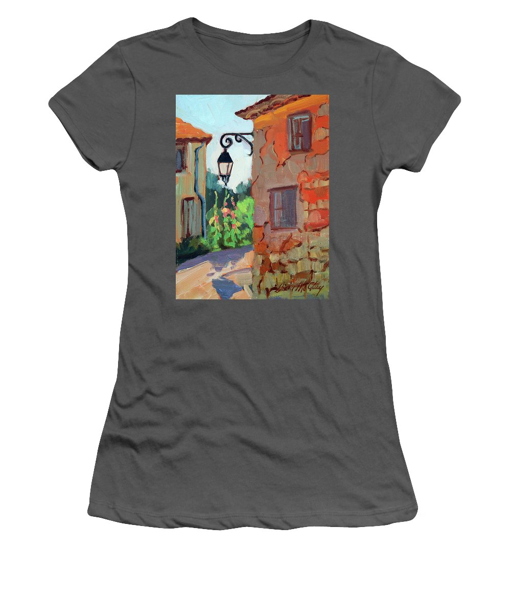 Corner Street Women's T-Shirt (Athletic Fit) featuring the painting Street Corner In St. Colombe by Diane McClary
