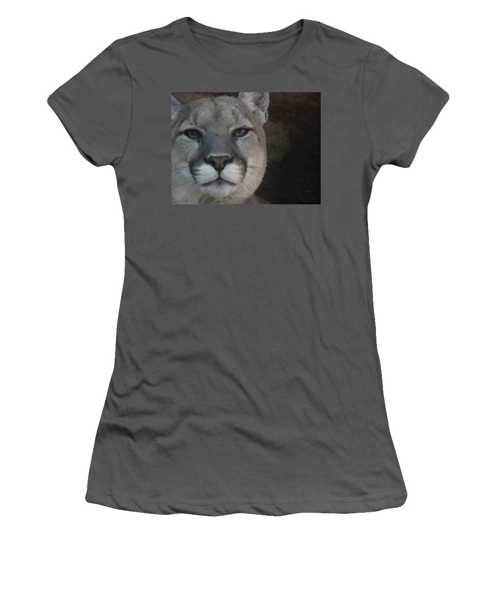 Animals Women's T-Shirt (Athletic Fit) featuring the digital art Cougar Digitally Enhanced by Ernie Echols