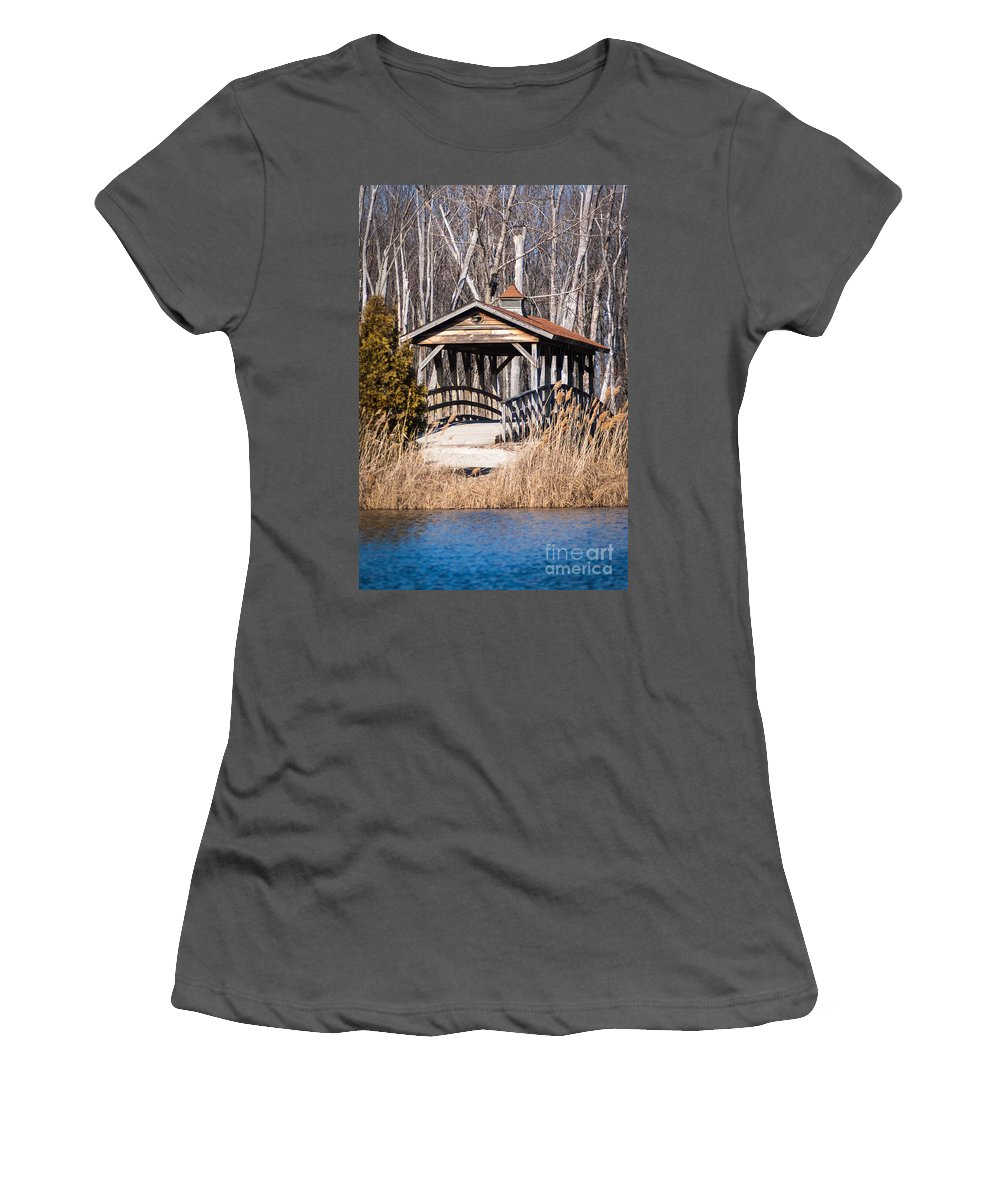 Covered Bridge Women's T-Shirt (Athletic Fit) featuring the photograph Covered Bridge by Patrick Shupert