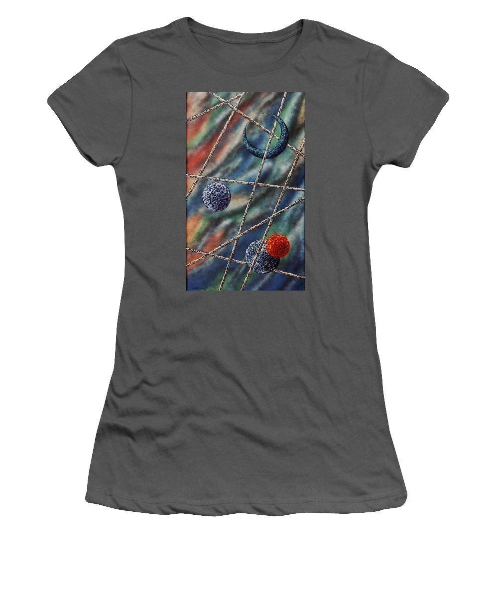 Abstract Women's T-Shirt (Athletic Fit) featuring the painting Crescent by Micah Guenther