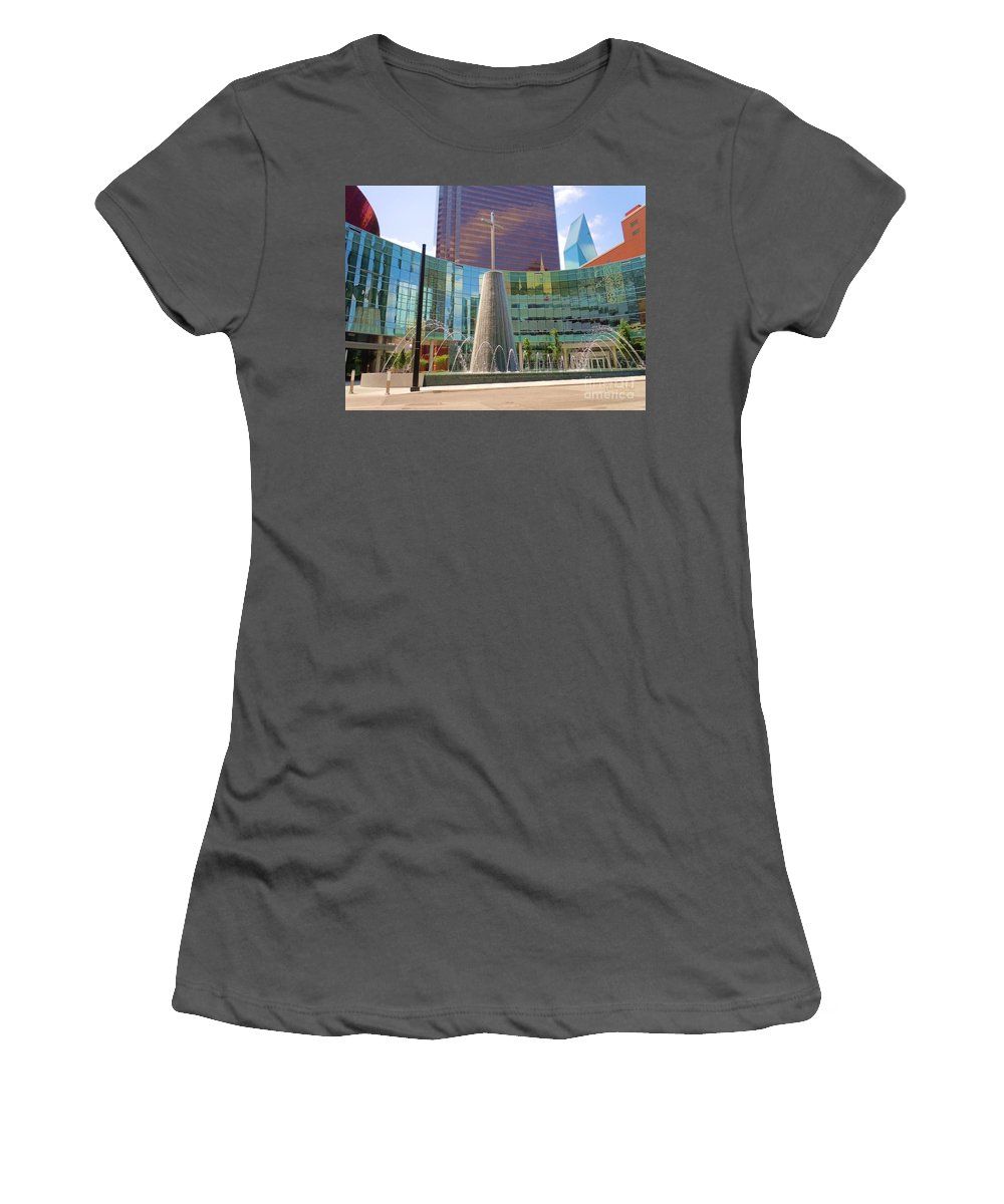 Cross Fountain Women's T-Shirt (Athletic Fit) featuring the photograph Cross Fountain #1 by Robert ONeil