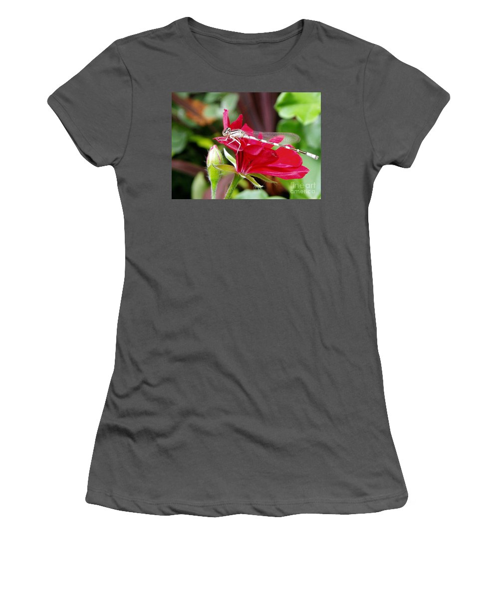 Damselfly Women's T-Shirt (Athletic Fit) featuring the photograph Damselfly by Renee Croushore
