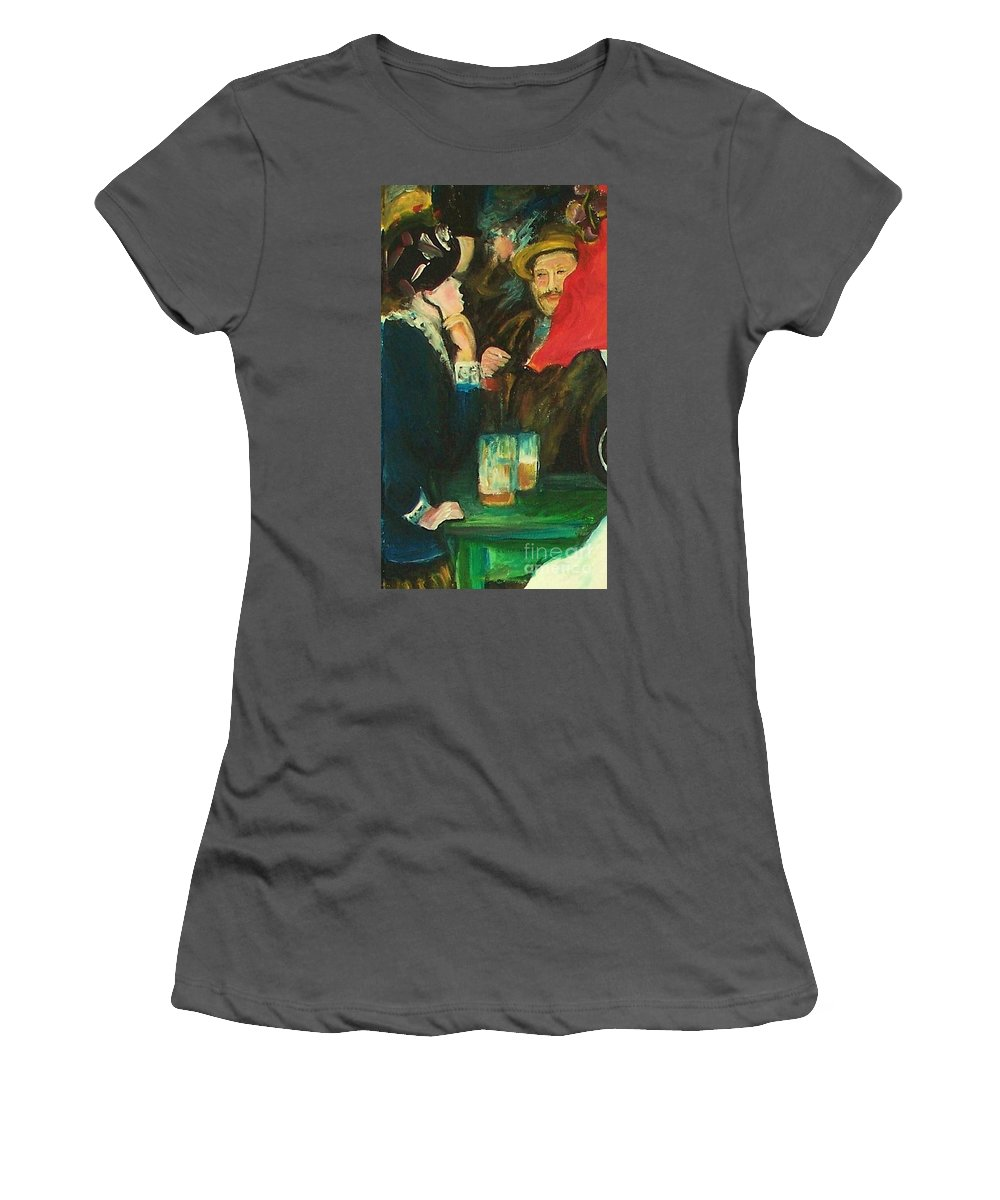 Dance At Bougival Women's T-Shirt (Athletic Fit) featuring the painting Dance At Bougival Close Up by Eric Schiabor