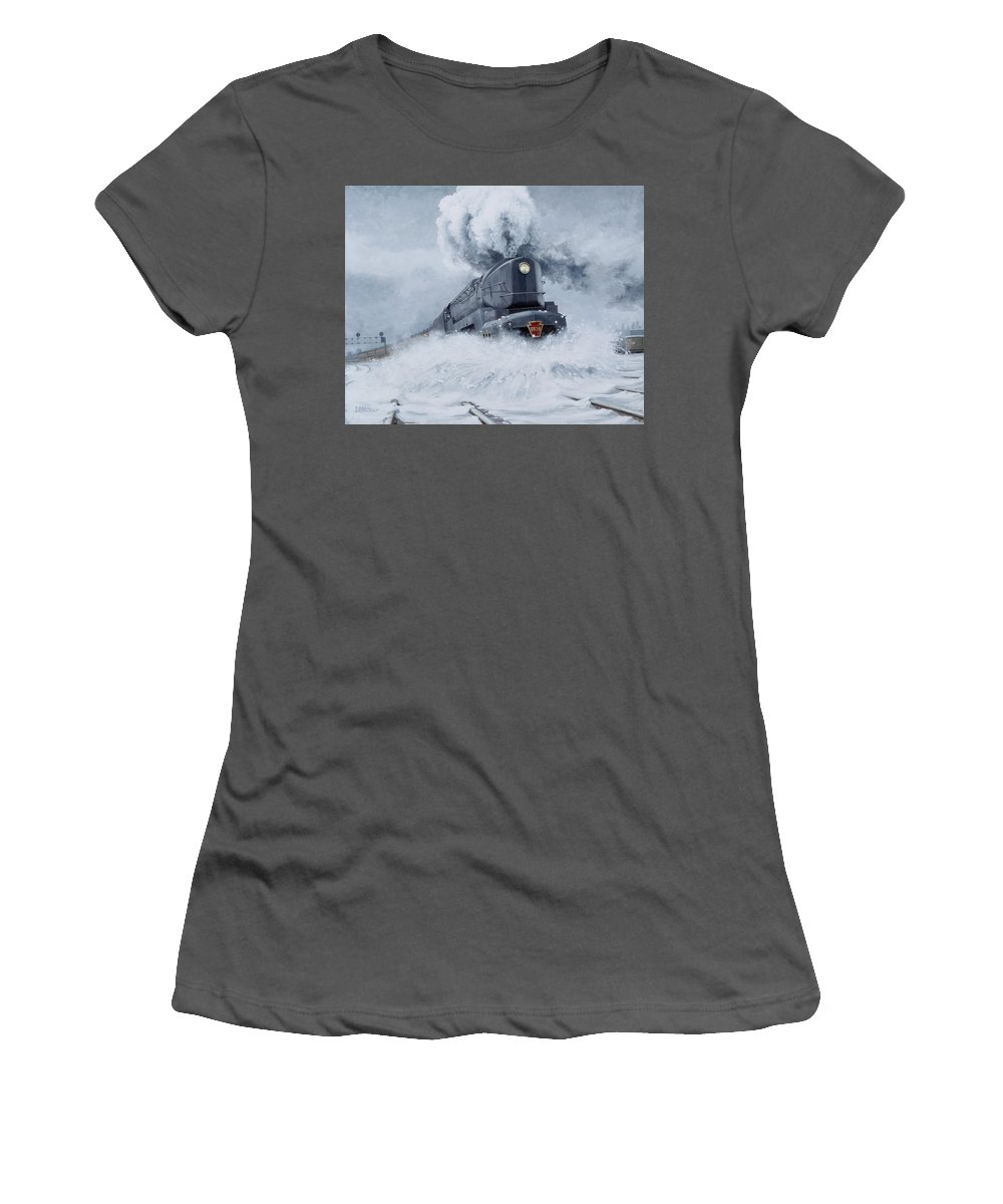 Trains Women's T-Shirt (Athletic Fit) featuring the painting Dashing Through The Snow by David Mittner