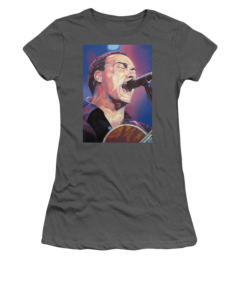 Dave Matthews Women's T-Shirt (Athletic Fit) featuring the drawing Dave Matthews Colorful Full Band Series by Joshua Morton