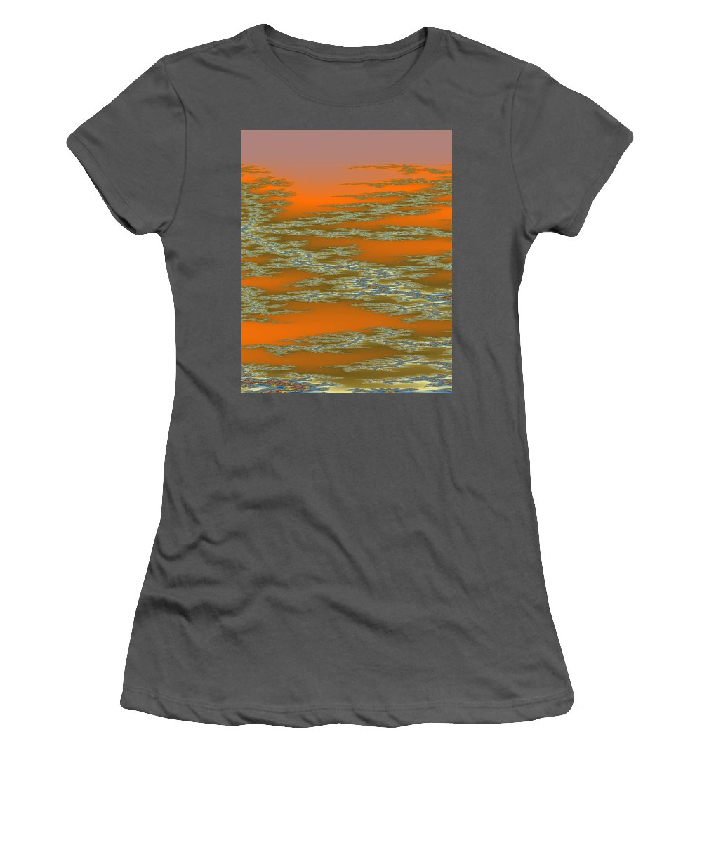 Fractal Women's T-Shirt (Athletic Fit) featuring the digital art Deep Color Field 3 by Mark Greenberg
