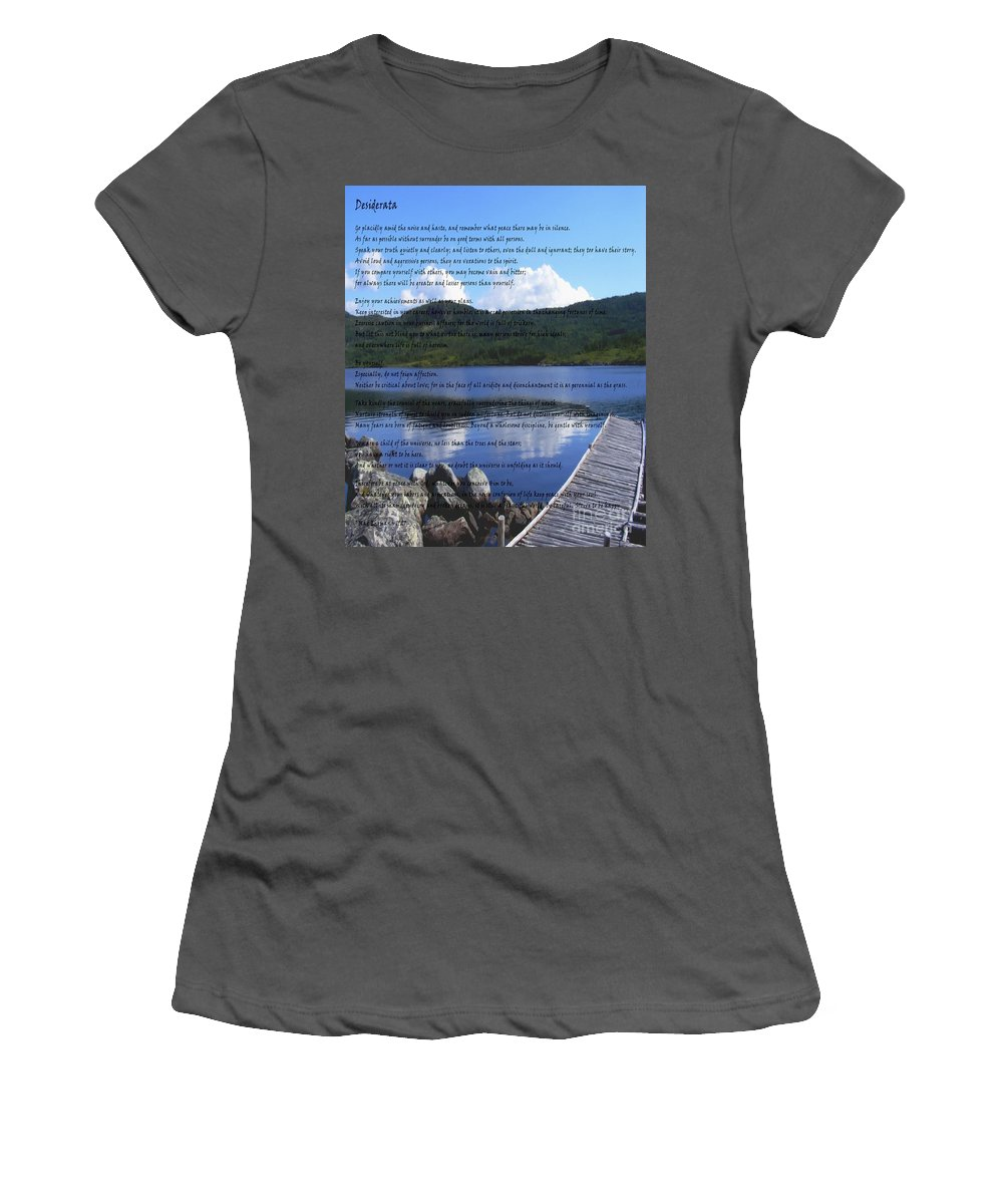 Desiderata Women's T-Shirt (Athletic Fit) featuring the photograph Desiderata On Pond Scene With Mountains by Barbara Griffin