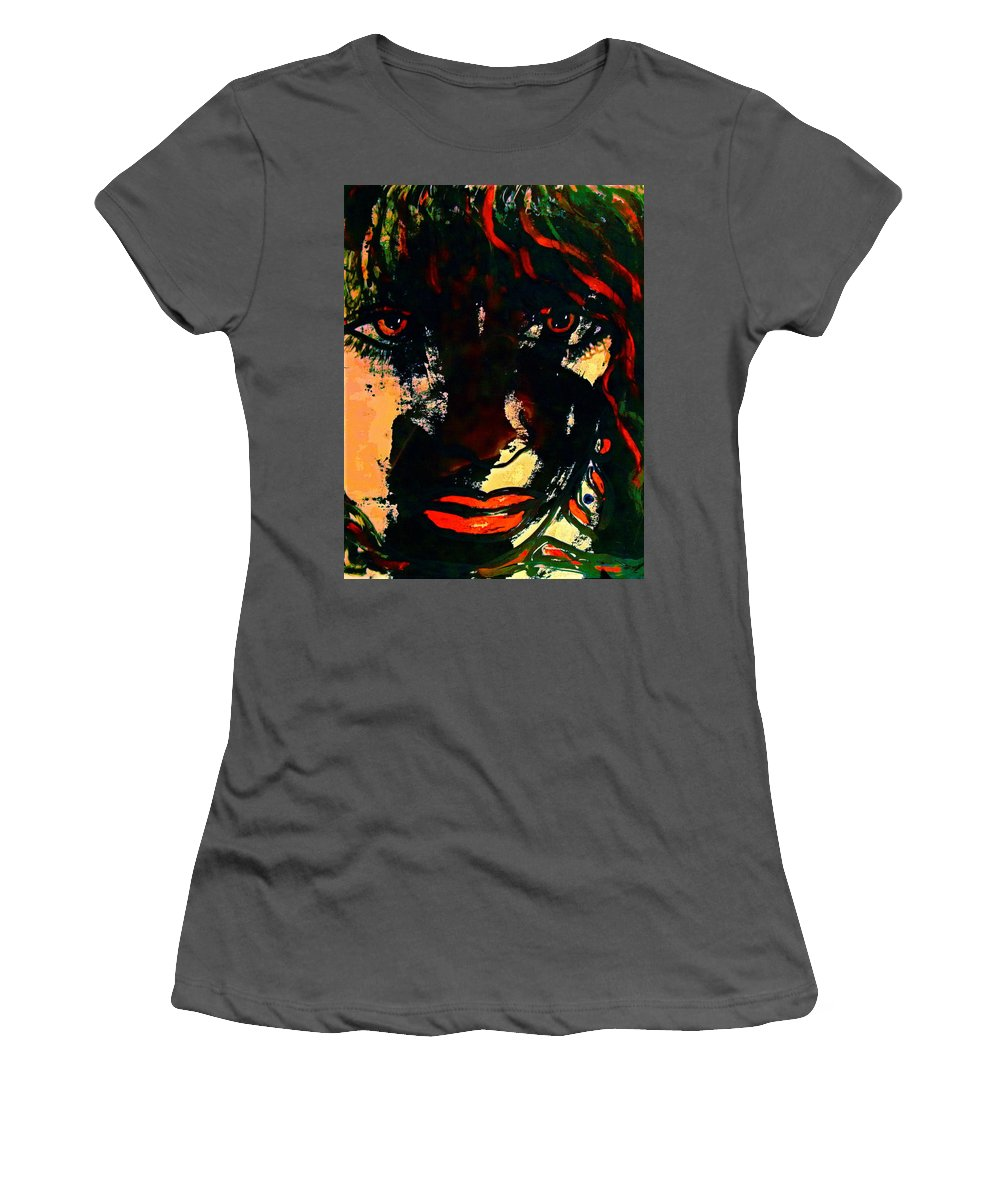 Woman Women's T-Shirt (Athletic Fit) featuring the painting Determination by Natalie Holland