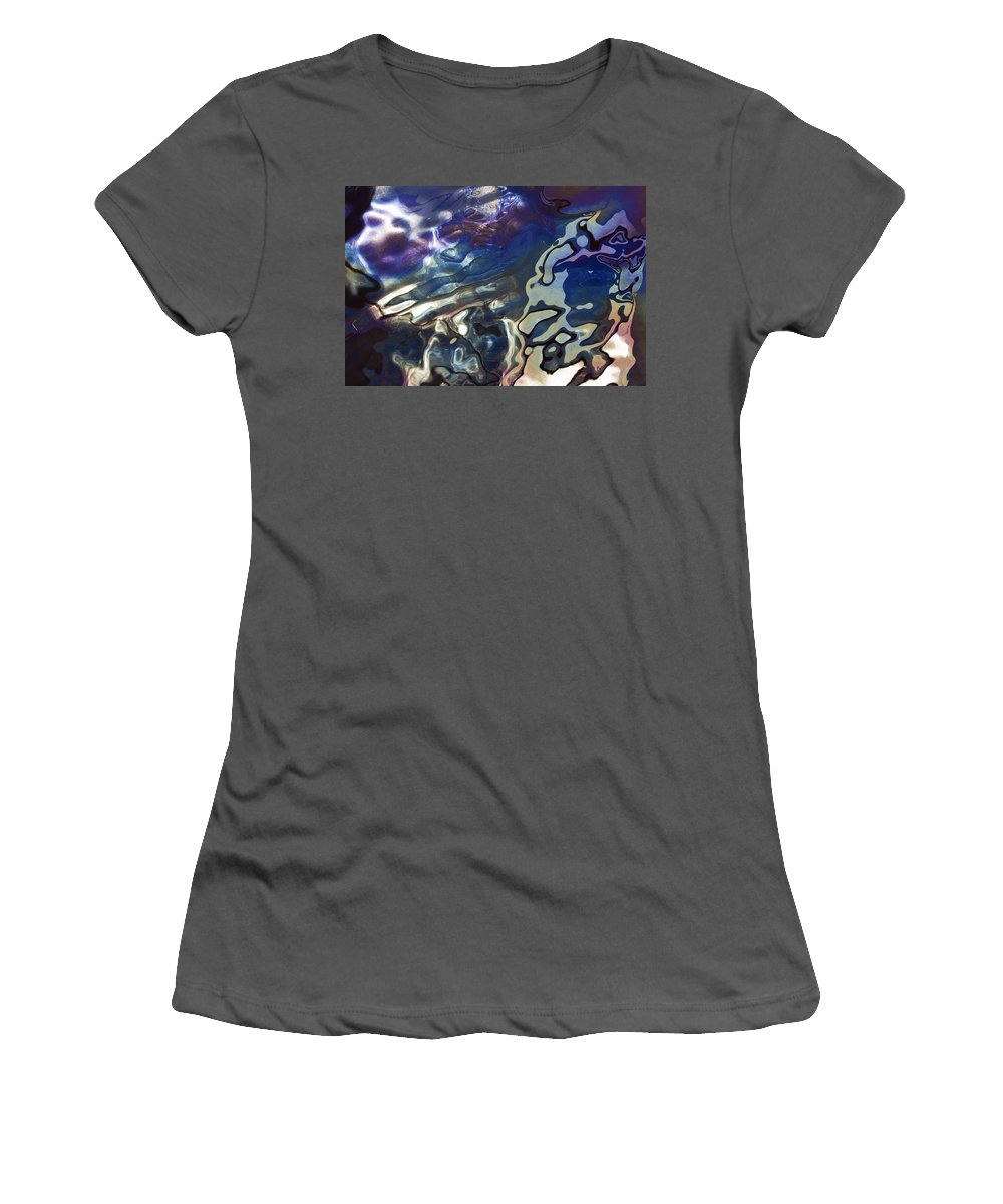 Feb0514 Women's T-Shirt (Athletic Fit) featuring the photograph Diesel Oil Spill From Boats In Harbor by Duncan Usher