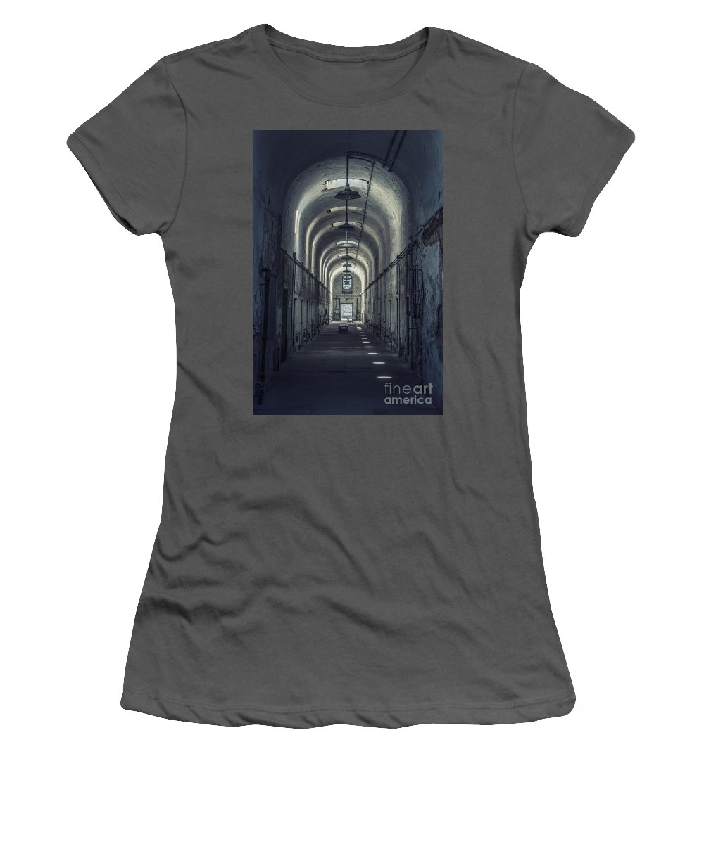 Eastern State Women's T-Shirt (Athletic Fit) featuring the photograph Dimensions Of Darkness by Evelina Kremsdorf