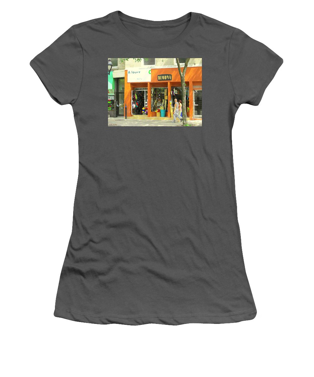 Montreal Women's T-Shirt (Athletic Fit) featuring the painting Dimona Latin Quarter Romantic Morning Summer Stroll Pretty Streets Montreal City Scene C Spandau by Carole Spandau