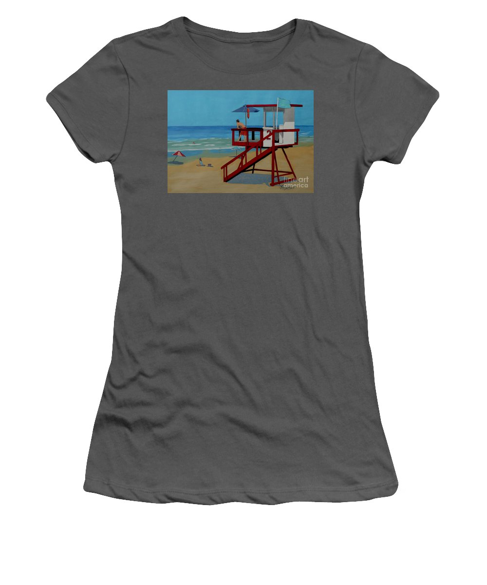 Lifeguard Women's T-Shirt (Athletic Fit) featuring the painting Distracted Lifeguard by Anthony Dunphy
