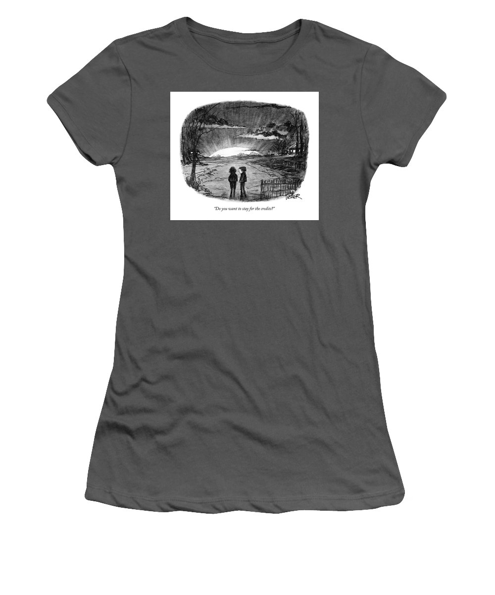 Sunset Women's T-Shirt (Athletic Fit) featuring the drawing Do You Want To Stay For The Credits? by Robert Weber