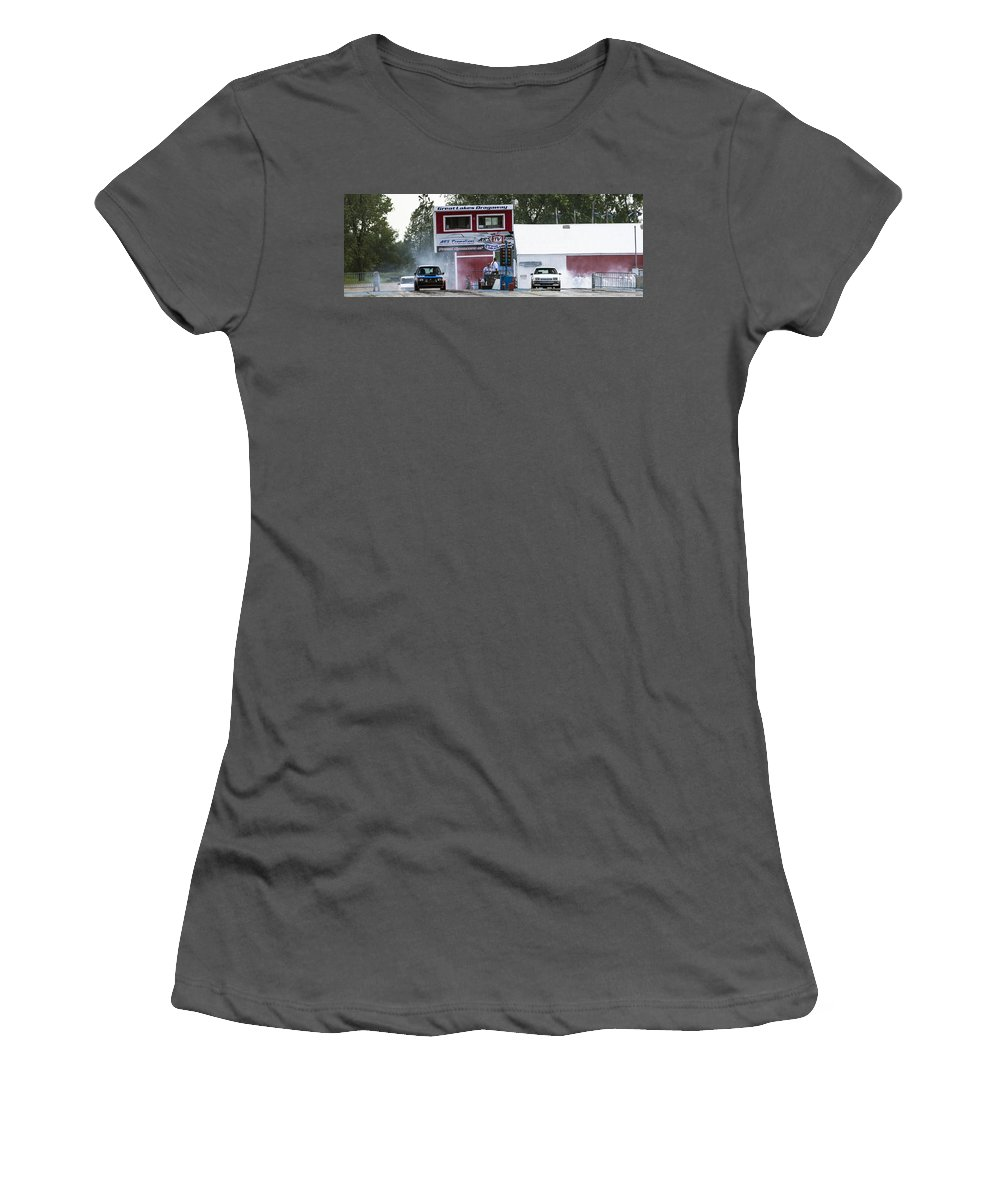 Dodge Women's T-Shirt (Athletic Fit) featuring the photograph Dodge Omni Glh Vs Rwd Dodge Shadow - 05 by Josh Bryant