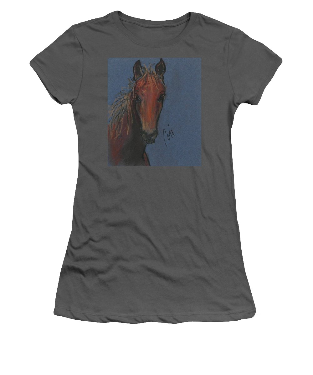 Horse Women's T-Shirt (Athletic Fit) featuring the drawing Dream Watcher by Cori Solomon