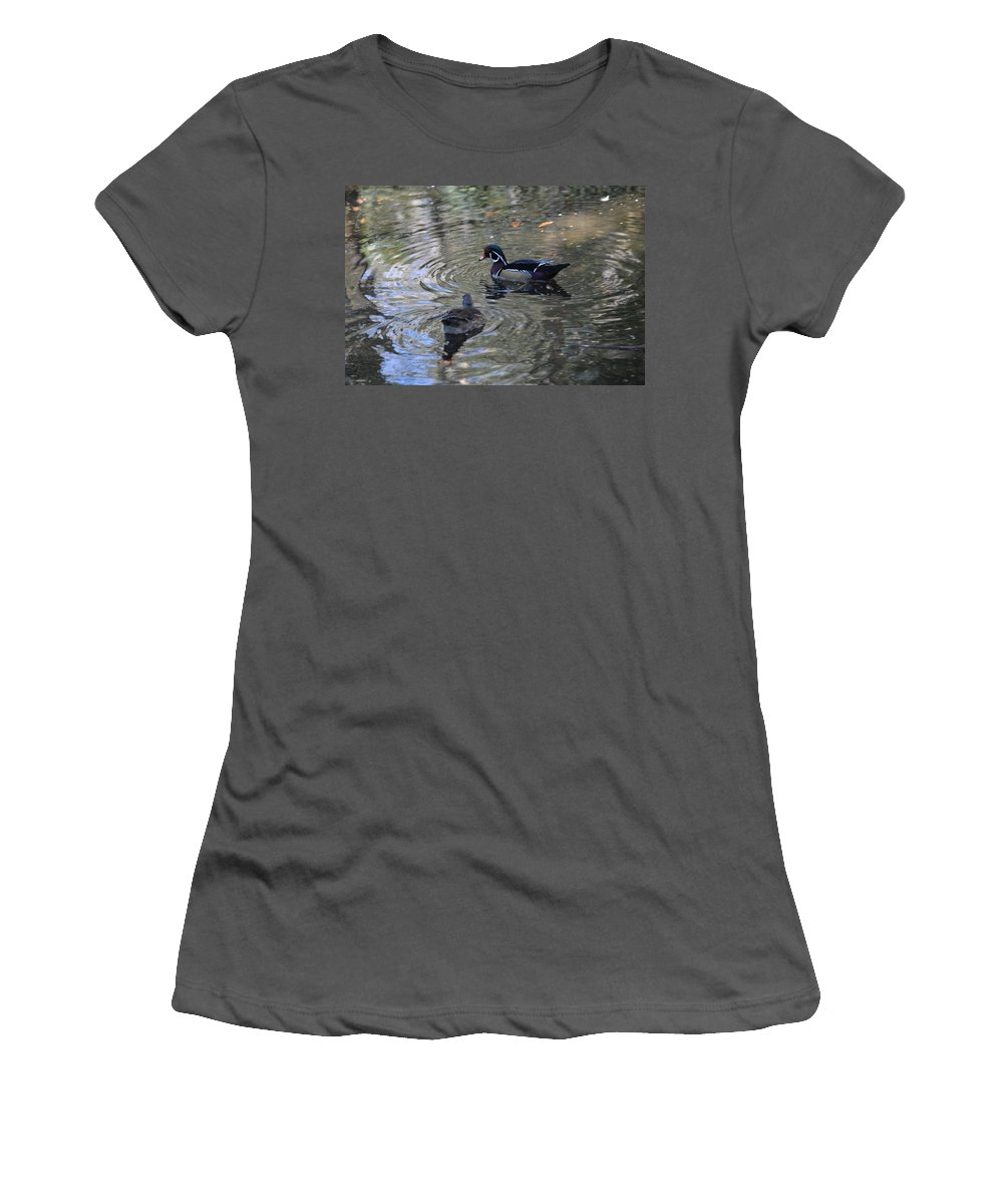 Duck Women's T-Shirt (Athletic Fit) featuring the photograph Ducky by Linda Kerkau