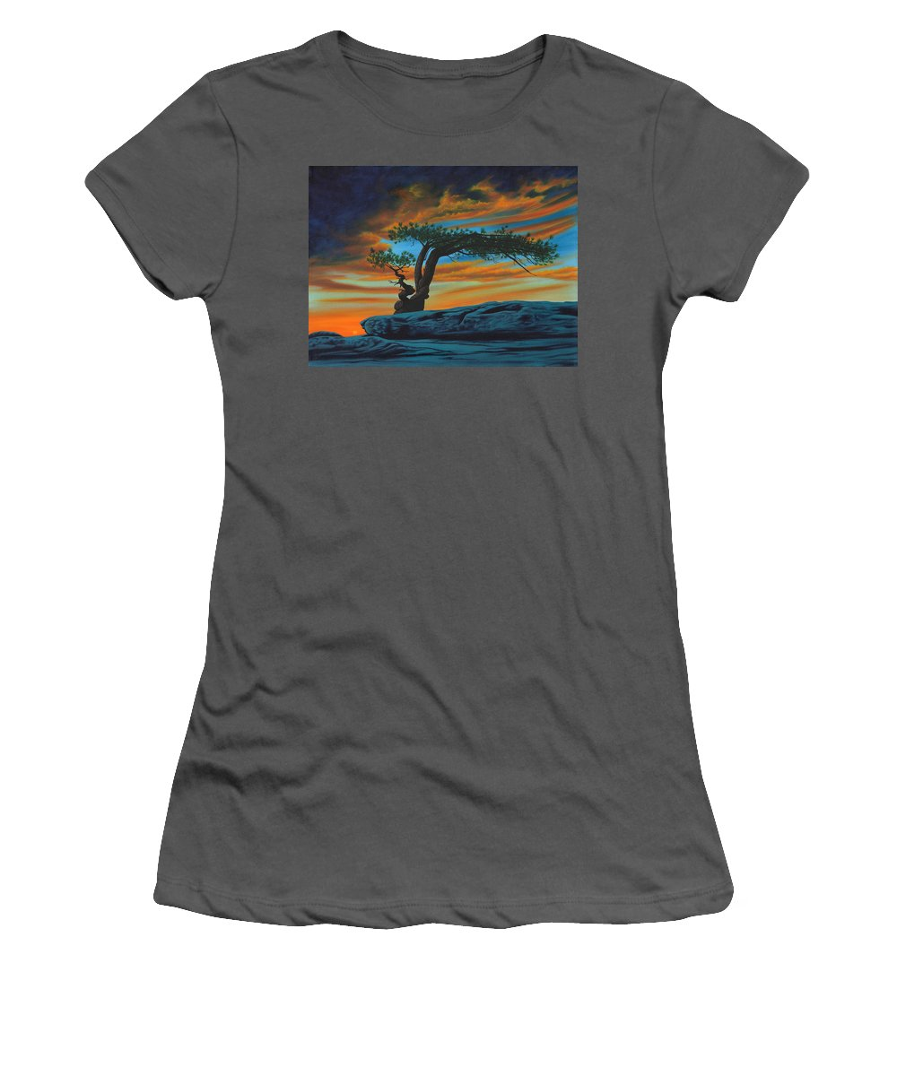 Enchanted Tree Women's T-Shirt (Athletic Fit) featuring the painting Enchanted by Sue Brehm
