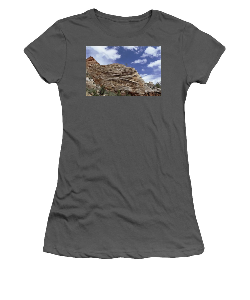 Feb0514 Women's T-Shirt (Athletic Fit) featuring the photograph Eroded Sandstone Zion Np Utah by Konrad Wothe