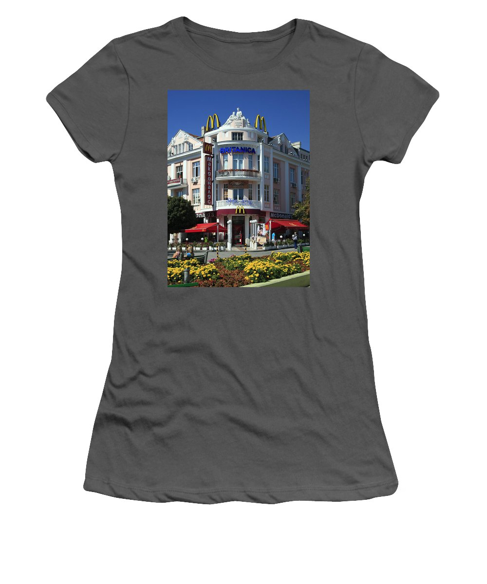 Mcdonalds Fast Food Chain Restaurant Women's T-Shirt (Athletic Fit) featuring the photograph European Mcdonalds by Sally Weigand