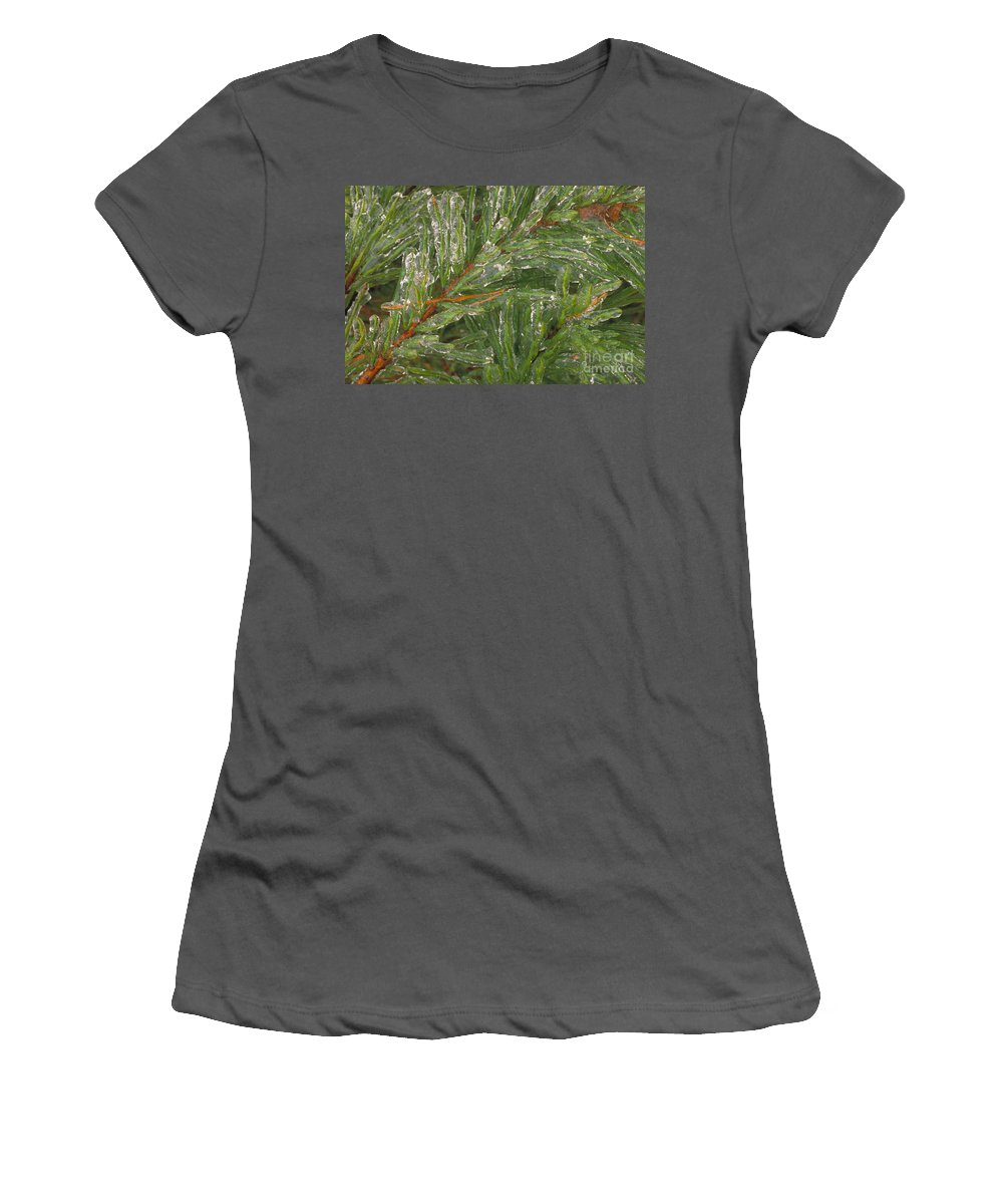 Evergreen Women's T-Shirt (Athletic Fit) featuring the photograph Evergreen Covered In Ice by David N. Davis
