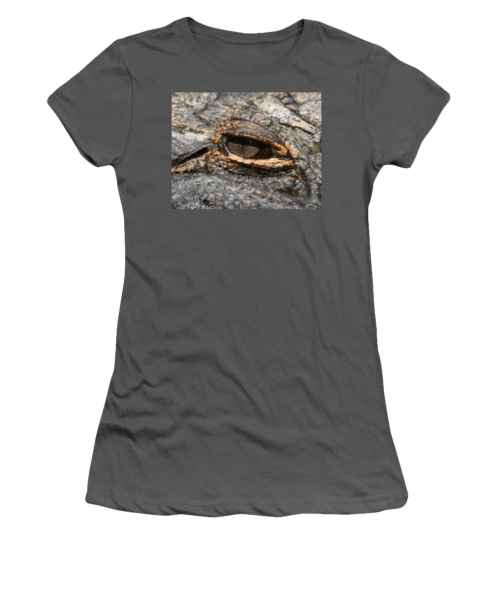 Alligator Women's T-Shirt (Athletic Fit) featuring the photograph Eye Of The Gator by Ernie Echols