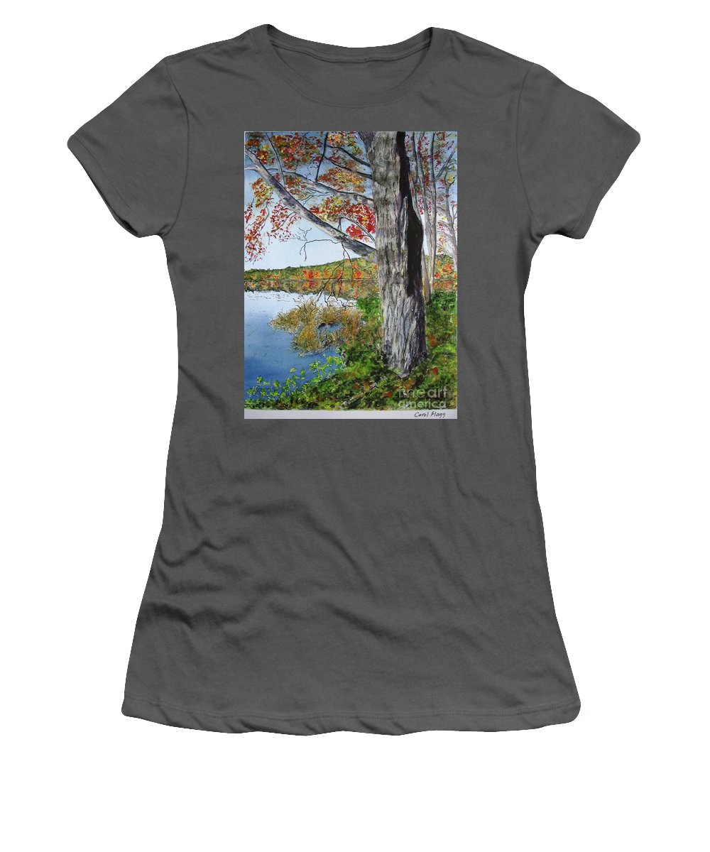 Autumn Women's T-Shirt (Athletic Fit) featuring the painting Fall Tree by Carol Flagg
