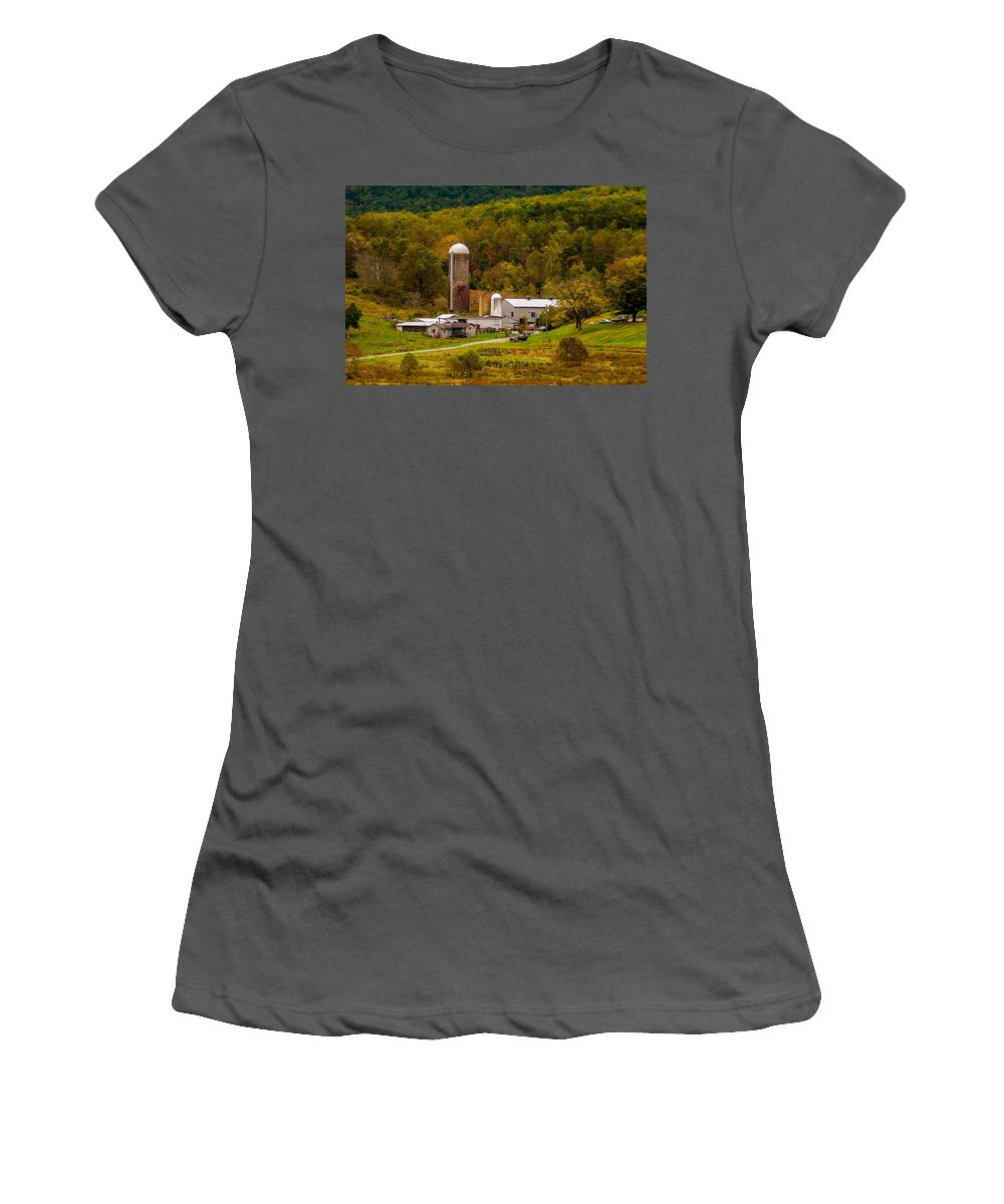 Agriculture Women's T-Shirt (Athletic Fit) featuring the photograph Farm View With Mountains Landscape by Alex Grichenko