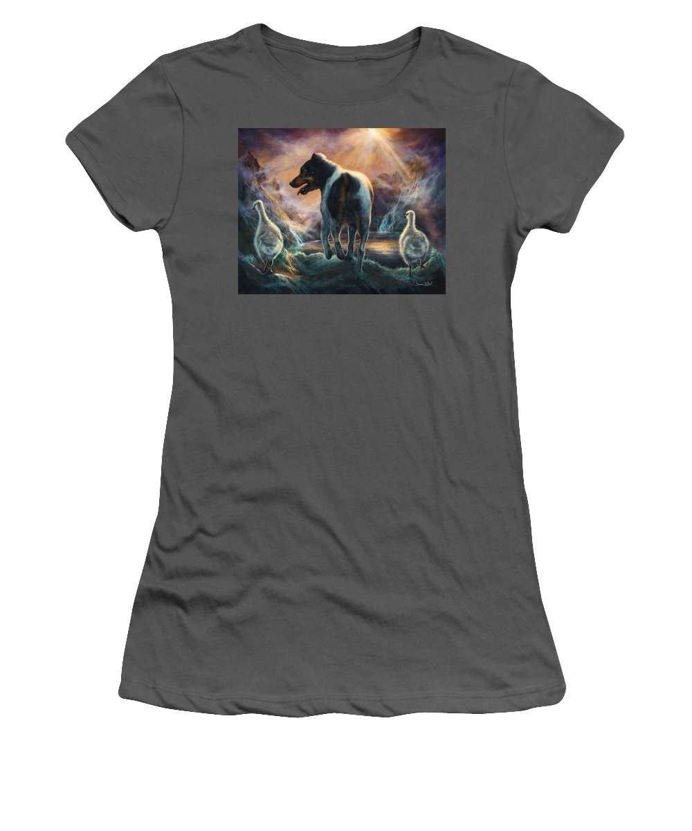 Goose Women's T-Shirt (Athletic Fit) featuring the painting Father Goose by Donna Hillman Walsh
