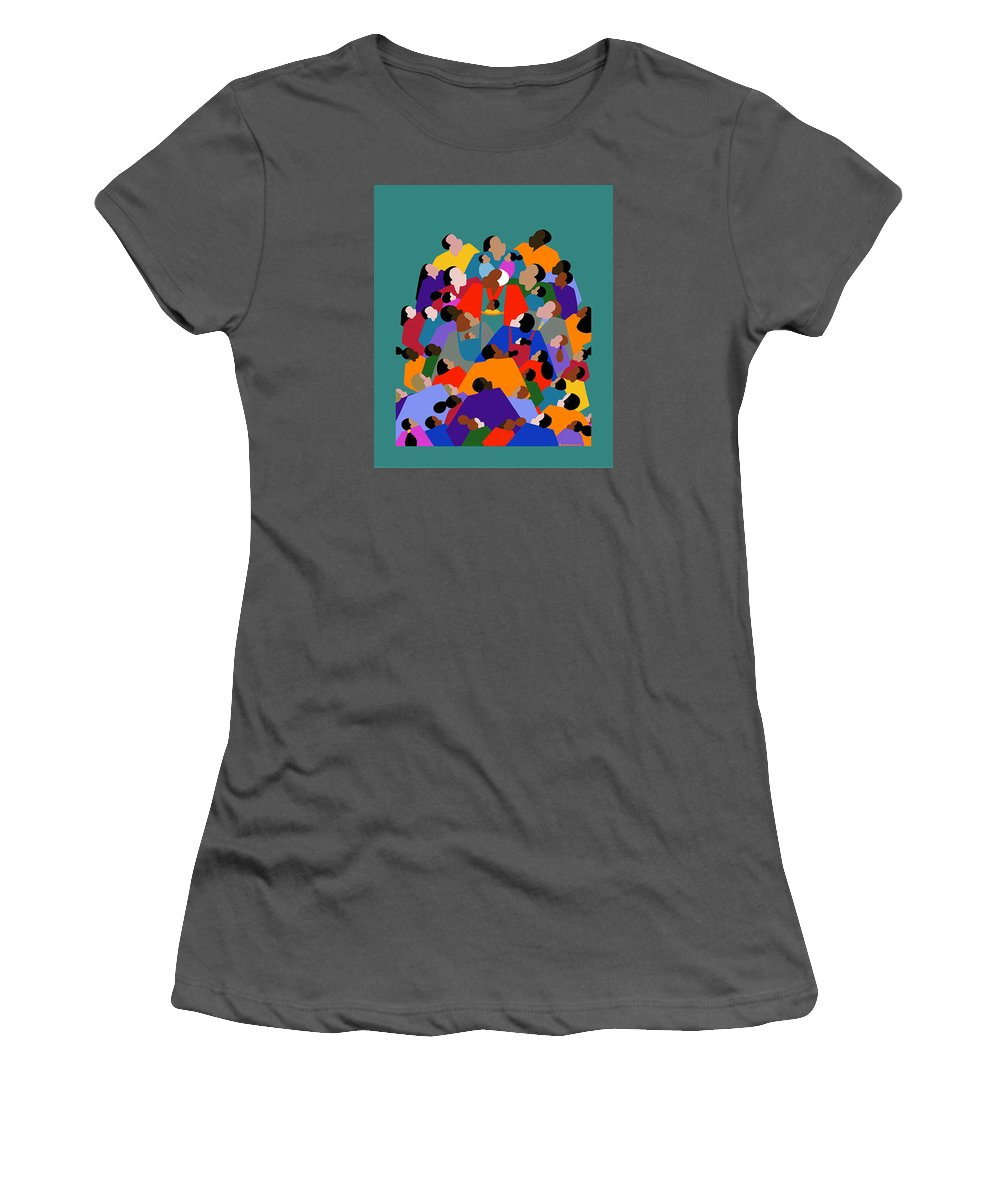 Fathers Women's T-Shirt (Athletic Fit) featuring the painting Fatherhood by Synthia SAINT JAMES