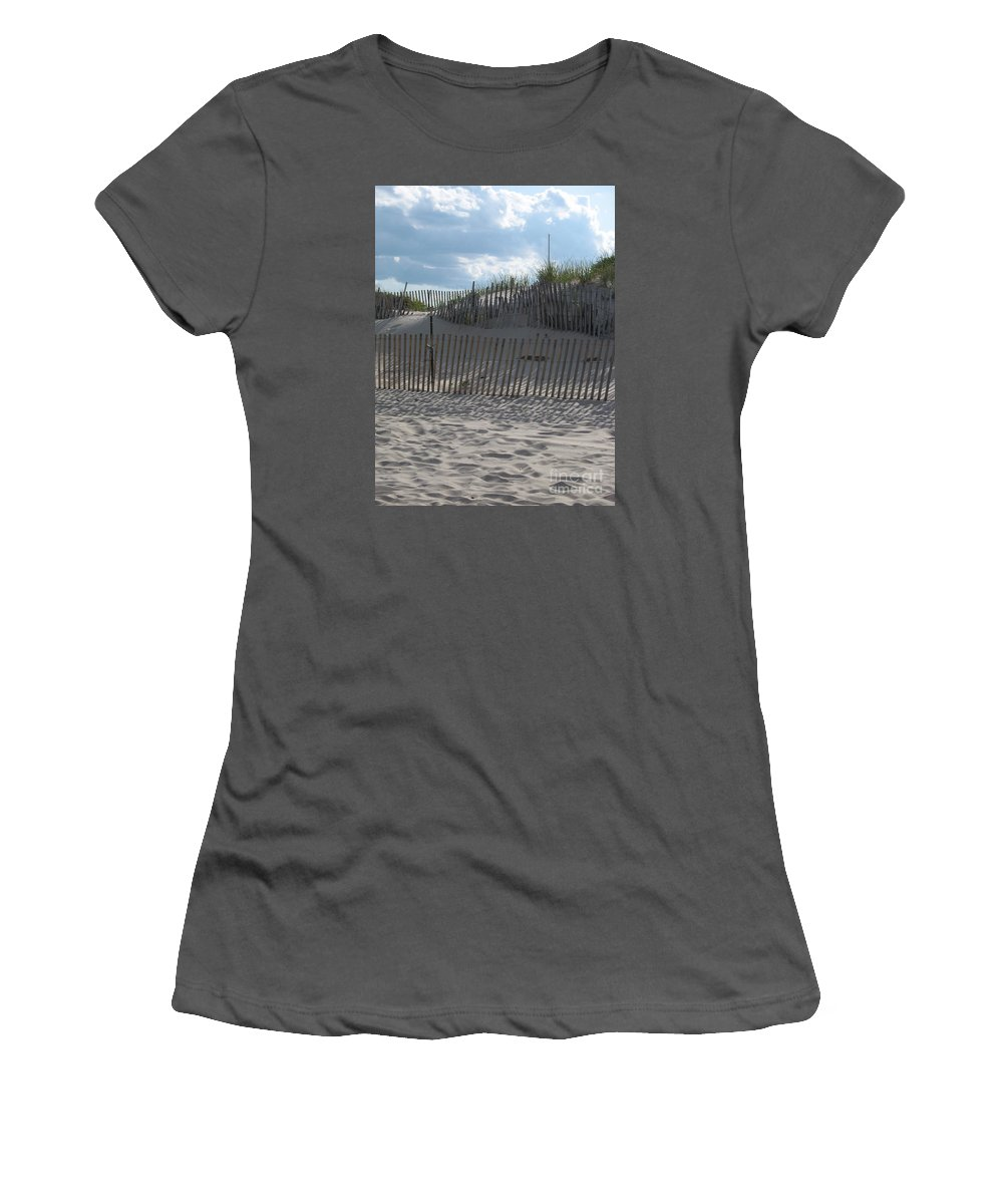 Fence Women's T-Shirt (Athletic Fit) featuring the photograph Fenced Dune by Christiane Schulze Art And Photography