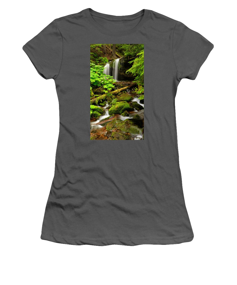 Fern Falls Women's T-Shirt (Athletic Fit) featuring the photograph Fern Falls Panoramic by Leland D Howard