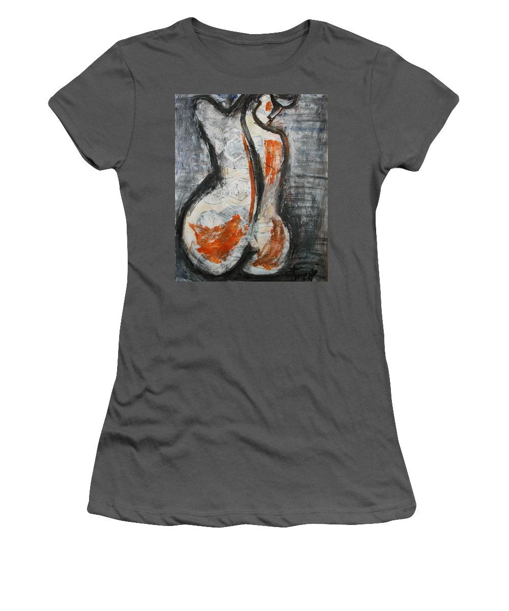 Women's T-Shirt (Athletic Fit) featuring the painting Figure1 by Carmen Tyrrell