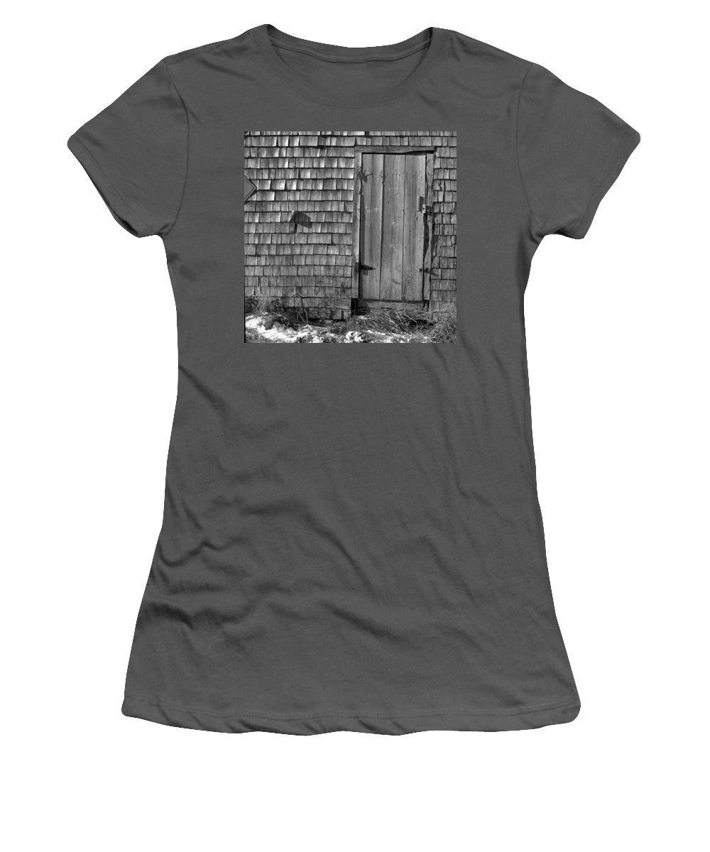 Black And White Women's T-Shirt (Athletic Fit) featuring the photograph Fishing Shed 12 by Timothy Bischoff