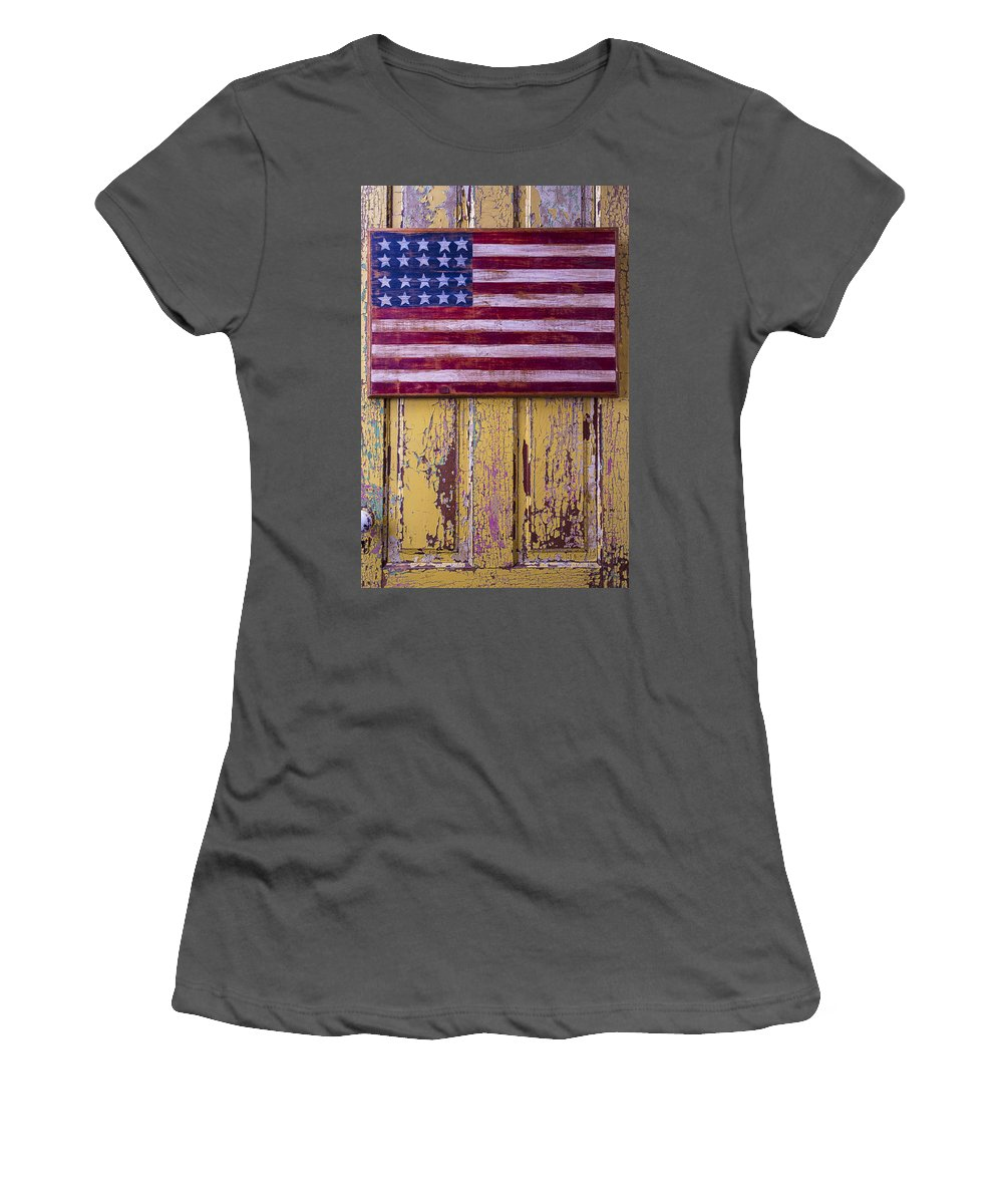 Still Life Women's T-Shirt (Athletic Fit) featuring the photograph Flag On Old Yellow Door by Garry Gay
