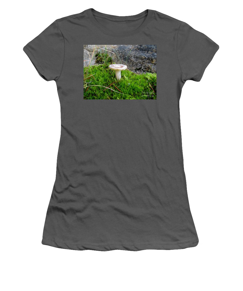 Mushroom Women's T-Shirt (Athletic Fit) featuring the photograph Flat Topped Mushroom by Leone Lund