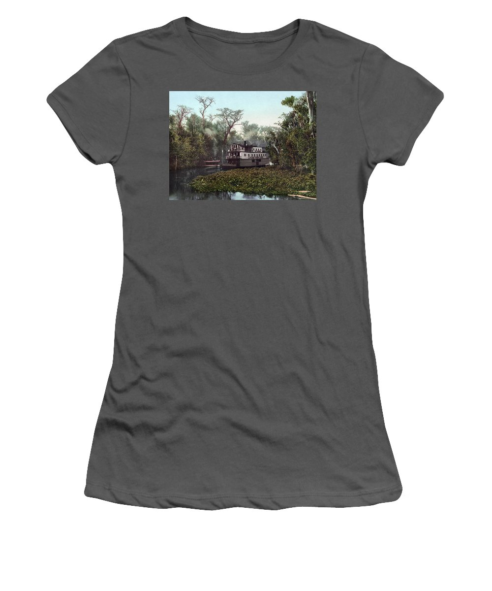 1902 Women's T-Shirt (Athletic Fit) featuring the painting Florida Steamboat, C1902 by Granger