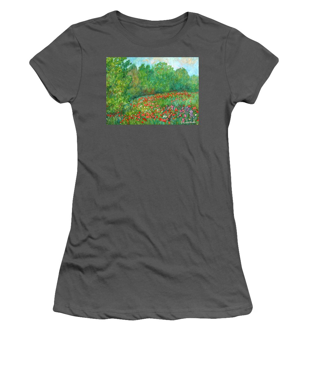 Blue Ridge Paintings Women's T-Shirt (Athletic Fit) featuring the painting Flower Field by Kendall Kessler