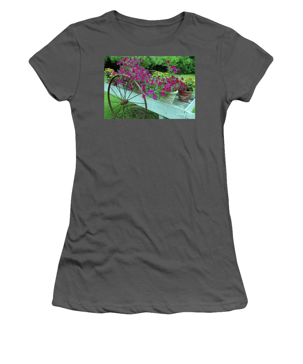 Flower Pots Women's T-Shirt (Athletic Fit) featuring the photograph Flower Pot 2 by Allen Beatty