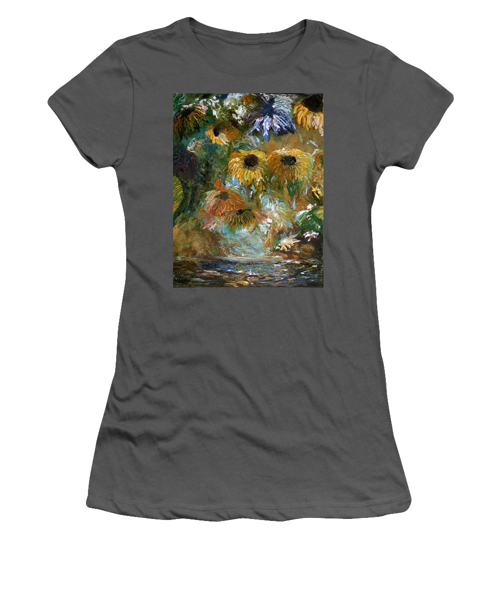 Flowers Women's T-Shirt (Athletic Fit) featuring the painting Flower Rain by Jack Diamond
