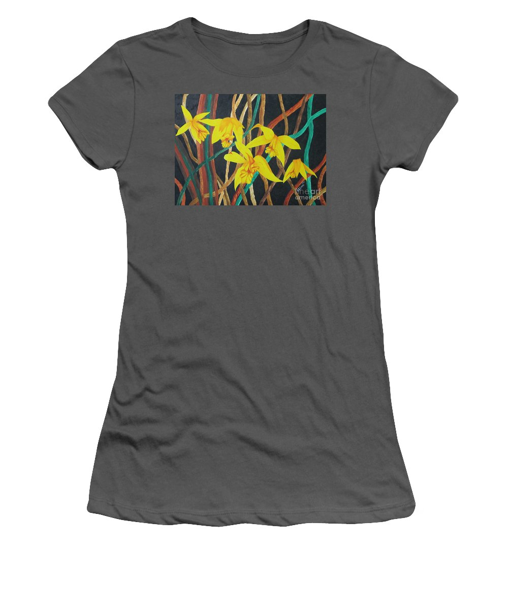 Orchids Women's T-Shirt (Athletic Fit) featuring the painting Flowers A Flame by Richard Dotson