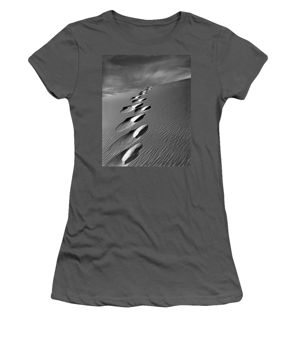 Footprints In Sand Women's T-Shirt (Athletic Fit) featuring the photograph Footprints In Sand by Leland D Howard