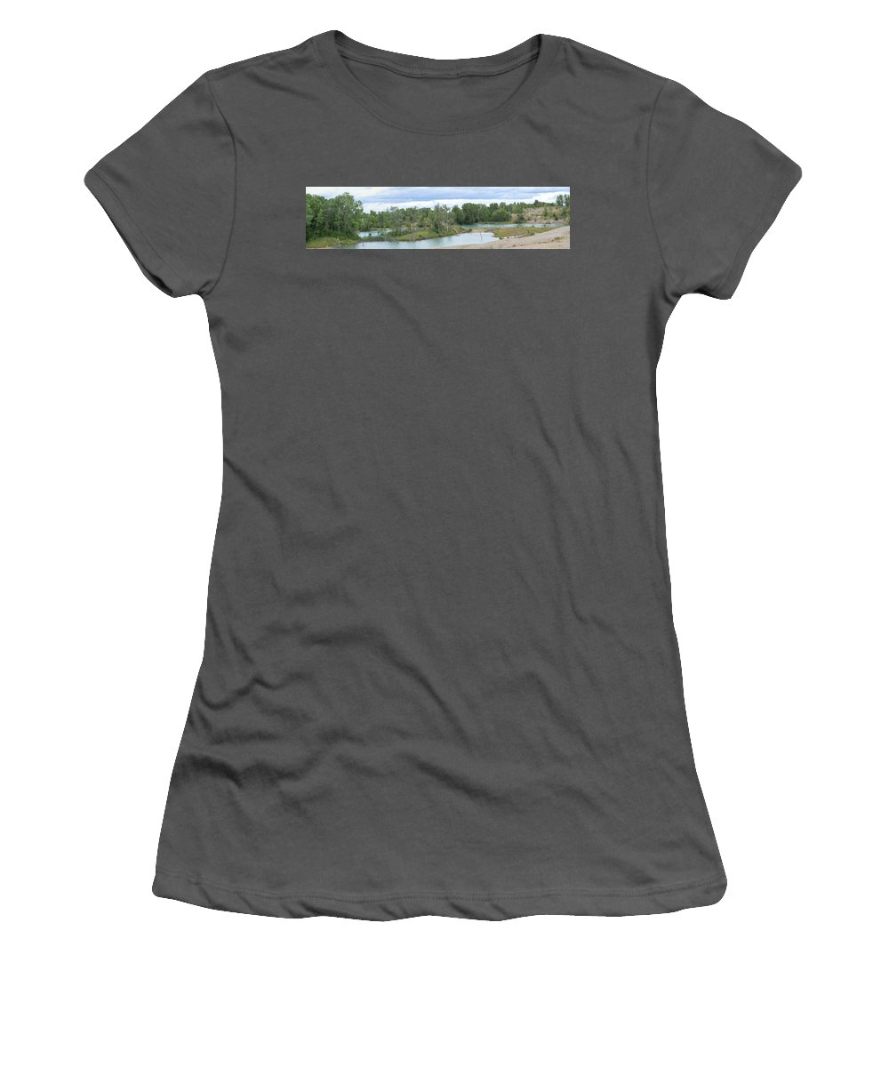 Fossil Prairie Women's T-Shirt (Athletic Fit) featuring the photograph Fossil Prairie Panoramic by Bonfire Photography