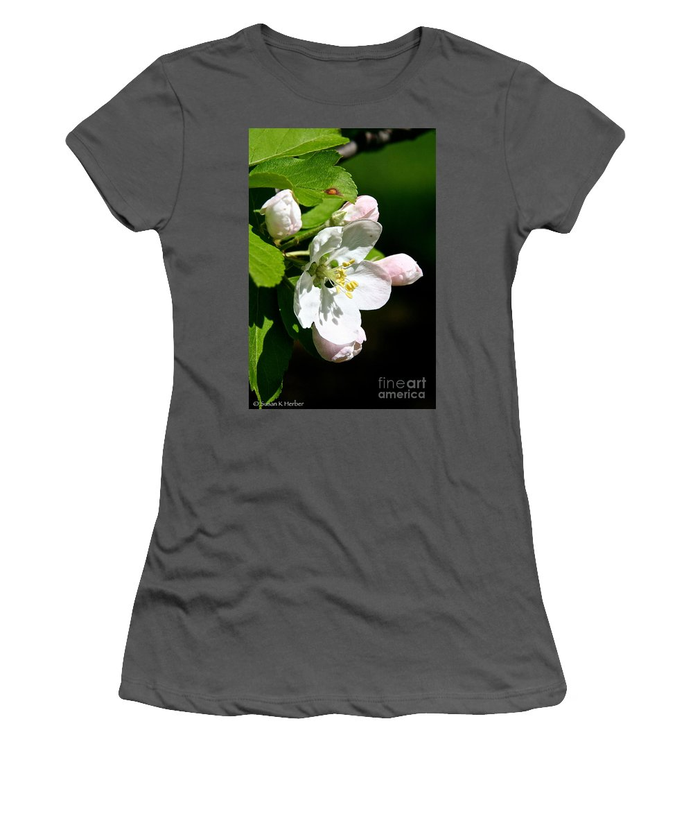 Flower Women's T-Shirt (Athletic Fit) featuring the photograph Fresh Fruit Blossoms by Susan Herber