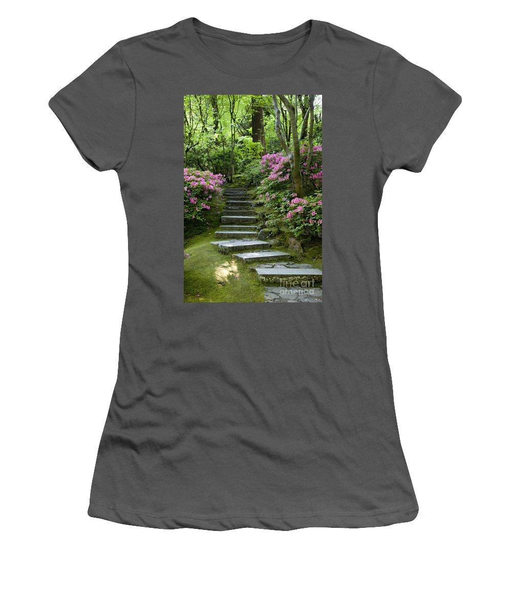 Japanese Garden Women's T-Shirt (Athletic Fit) featuring the photograph Garden Pathway by Brian Jannsen