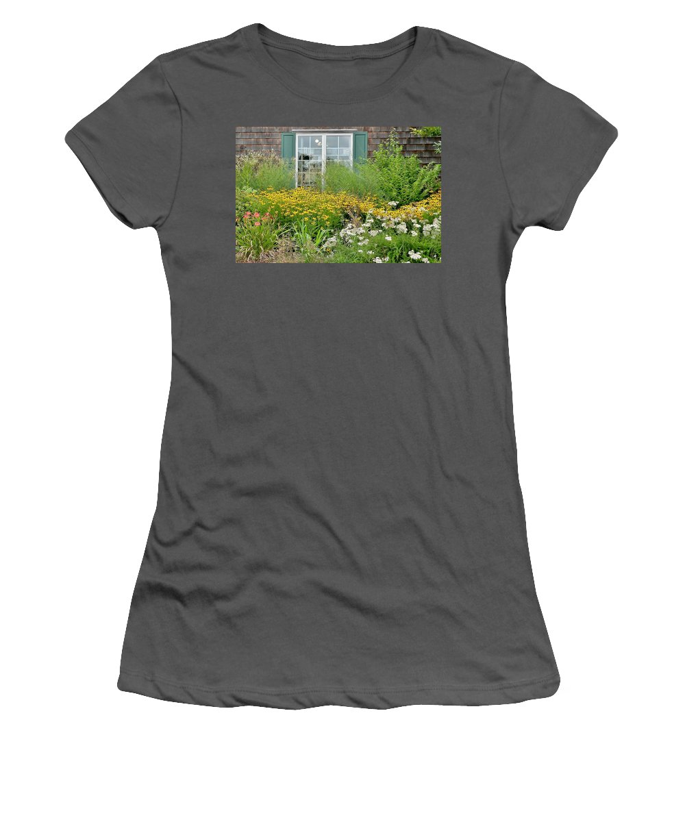Floral Women's T-Shirt (Athletic Fit) featuring the photograph Gardens At The Good Earth Market by Kim Bemis