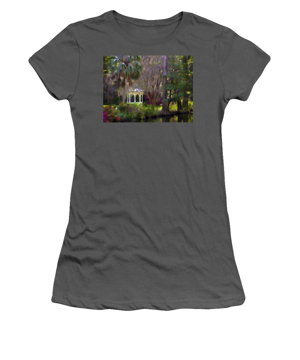 Landscape Women's T-Shirt (Athletic Fit) featuring the photograph Gazebo At Magnolia Gardens by Sharon M Connolly