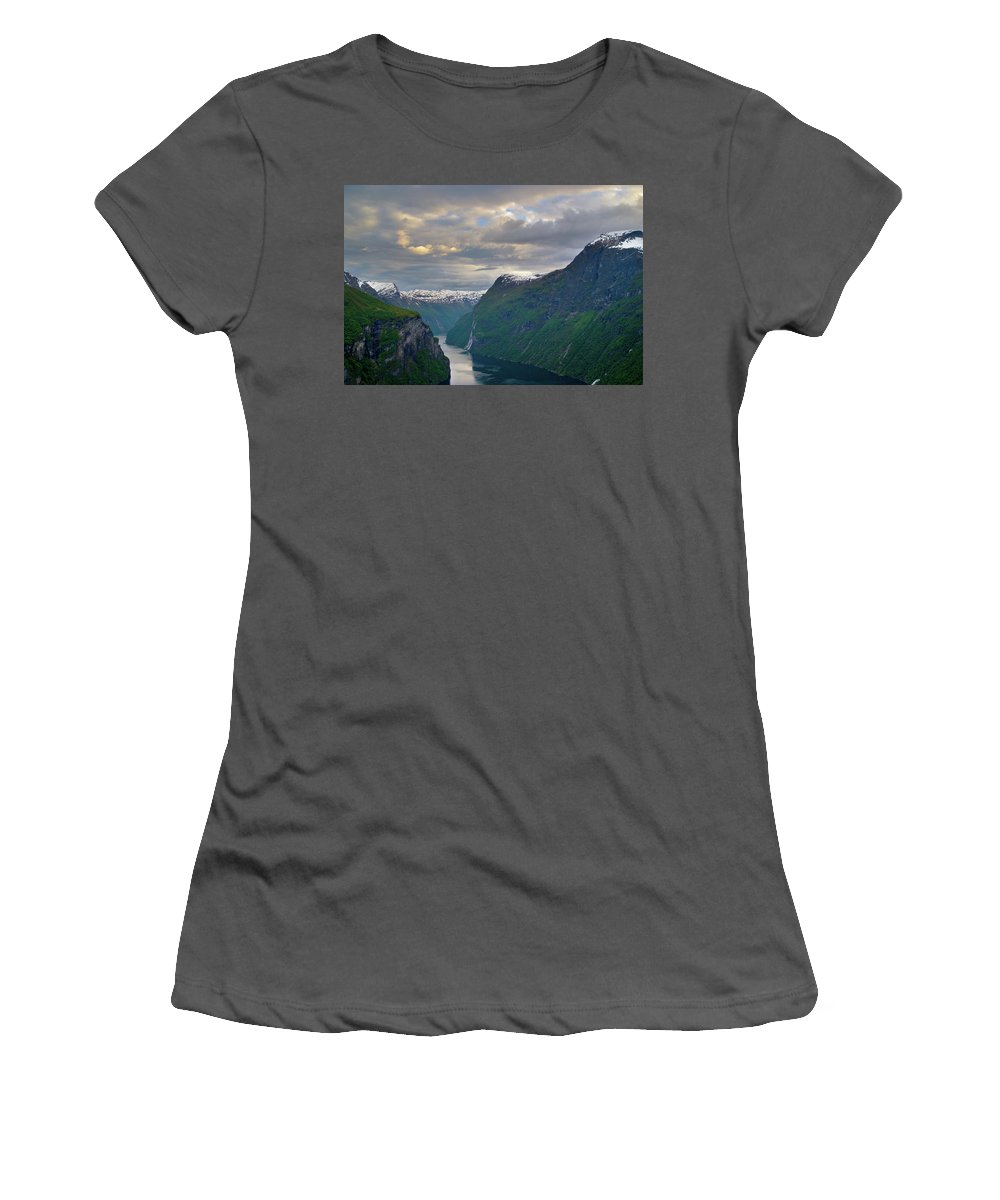 Geiranger Women's T-Shirt (Athletic Fit) featuring the photograph Geirangerfjord Sunset by Benjamin Reed