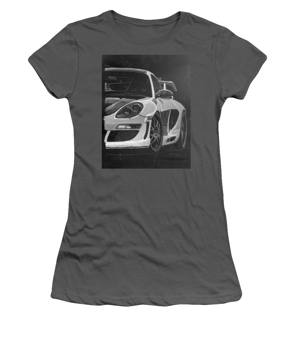Car Women's T-Shirt (Athletic Fit) featuring the painting Gemballa Porsche Left by Richard Le Page
