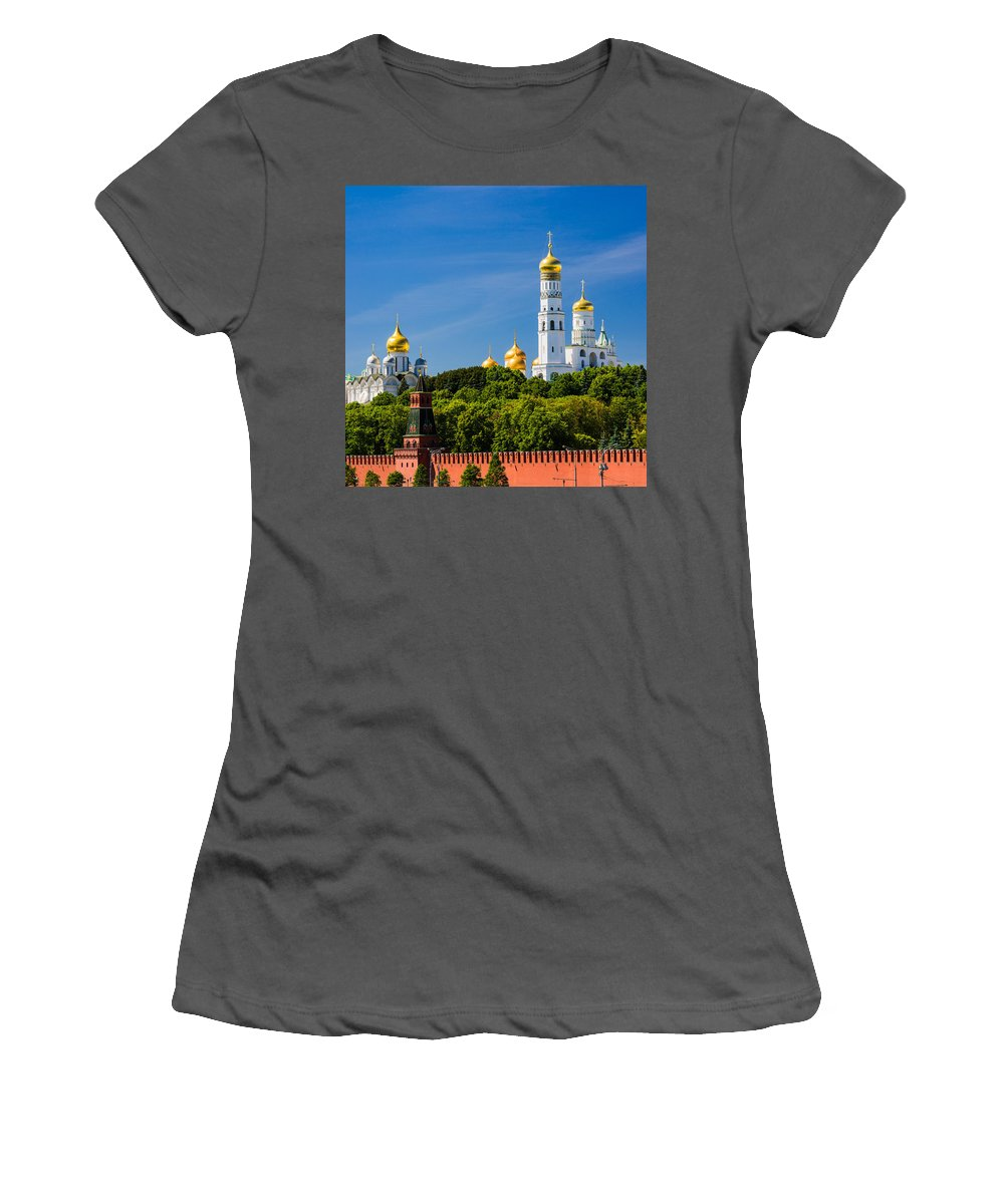 Featured Women's T-Shirt (Athletic Fit) featuring the photograph Golden Domes Of Moscow Kremlin - Featured 3 by Alexander Senin